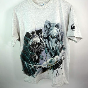 Vintage Winter Wolves Graphic T-Shirt Large